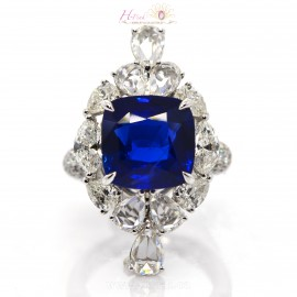 14.84ct Unheated Royal Blue Sapphire Diamond Ring 18K GRS