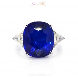 18.65ct Unheated Vivid Royal Peacock Blue Sapphire Diamond Ring 18K GRS