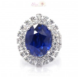 17.29ct Unheated Vivid Royal Blue Sapphire Diamond Ring & Pendant 18K GRS