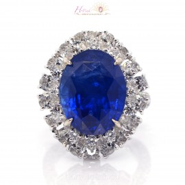 18.75ct Unheated Vivid Royal Blue Sapphire Diamond Ring 18K GRS