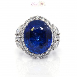 24.72ct Vivid Royal Blue Sapphire Diamond Ring 18K GRS Heated Only