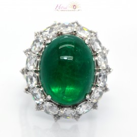 20.69ct Vivid Green Colombia Emerald Diamond Ring 18K GRS
