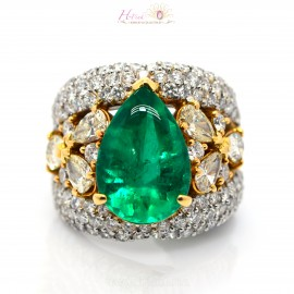10.10ct Green Colombia Emerald Diamond Ring PT900 GRS Minor