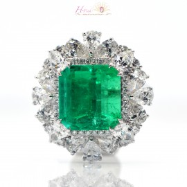 10.79ct No oil Colombian Green Emerald Diamond Ring 18K GIA