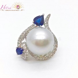 18K White Gold Blue Sapohire Diamond South Sea White Pearl Ring