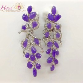 18K White Gold Diamond Lavender Jadeite Earrings