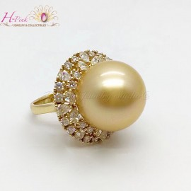 18K Yellow Gold Diamond South Sea Golden Pearl Ring