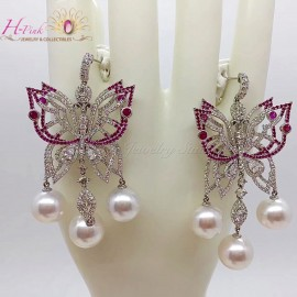 18K WG Diamond Ruby South Sea White Pearl Earrings Victoria Style