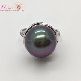 18K White Gold Diamond Tahitian Pearl Ring