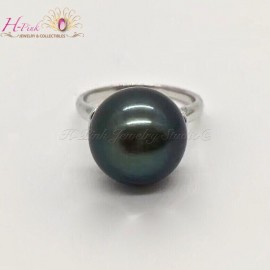18K White Gold Tahitian Pearl Ring