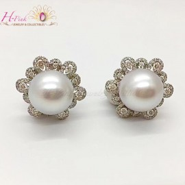 18K WG Diamond 13mm South Sea White Pearl Earrings