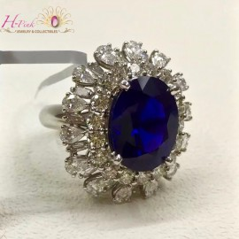 9.08ct Untreated Unheated Royal Blue Sapphire & Diamond Ring GRS