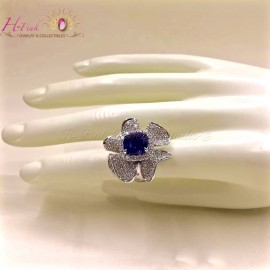 6.70ct Untreated Unheated Blue Sapphire & Diamond Ring GRS