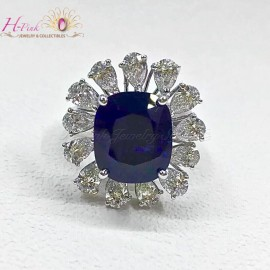 7.81ct Untreated Unheated Deep Royal Blue Sapphire & Diamond Ring GRS