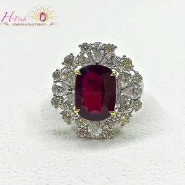 18K WG Diamond Unheated Untreated 4.22ct Vivid Red Ruby Ring GRS
