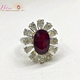18K WG Diamond Unheated Untreated 5.03ct Vivid Red Ruby Ring GRS