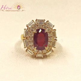 18K YG Diamond Unheated Untreated 3.01ct Vivid Red Pigeon Blood Ruby Ring GRS