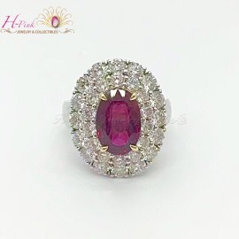18K White Gold Diamond Unheated 4.02ct Ruby Ring GRS