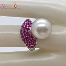 18K White Gold Ruby 12.4mm South Sea White Pearl Ring