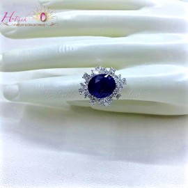 12.26ct Untreated Unheated Intense Cornflower Blue Sapphire & Diamond Ring GRS