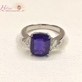 4.06ct Untreated Unheated Mogok Intense Violetish Blue Sapphire & Diamond Ring Lotus Cert.