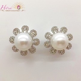 18K WG Diamond 14mm South Sea White Pearl Earrings