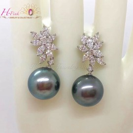 18K White Gold Diamond Huge Tahitian Pearl Earrings Removable