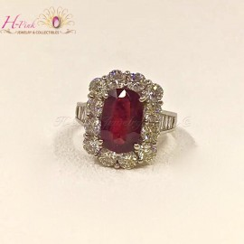 18K WG Diamond Unheated Untreated 3.09ct Vivid Red Pigeon Blood Ruby Ring GRS