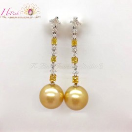 18K White Gold Clear & Yellow Diamond South Sea Golden Pearl Earrings