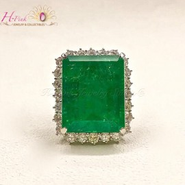 34.09ct Emerald Ring Columbia GRS Minor