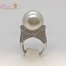 18K White Gold Diamond 15-16mm South Sea White Pearl Ring