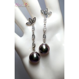 18K White Gold Diamond Tahitian Pearl Earrings
